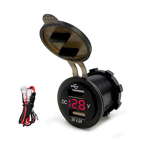 YGL 4.2A Caricatore USB Dual Port Con Voltmeter 12-24V Digitale Display universale per Car Boat Motorcycle(Rosso)
