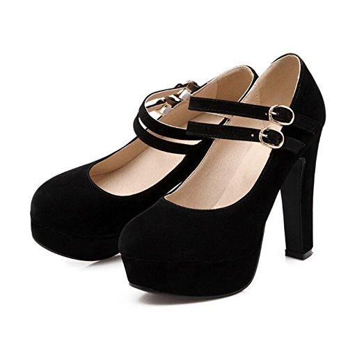 Damen Pumps Mary Janes mit Blockabsatz Plateau Schuhe Größe 34-44(Schwarz,47
