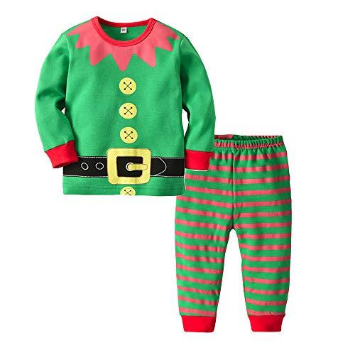 Disfraz Navidad Pijama Niño Niña Bebe Elfo Tops