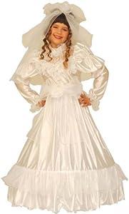 Widmann 3695B Disfraz de Novia y velo para niños, Tamaños 116/128cm