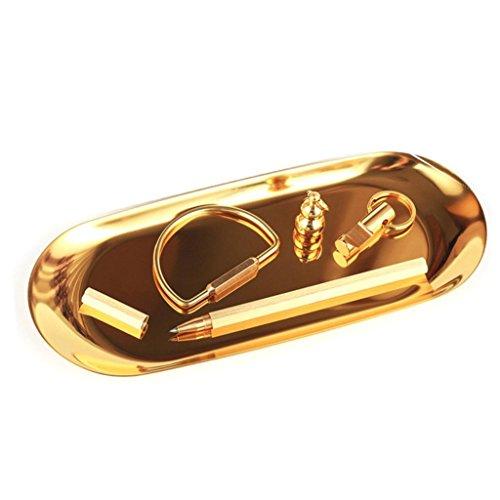HKFV Edelstahl Handtuchablage Ablageschale Teller Tee Tablett Obst Trays Schmuck Goldene ovale Platte Schmuck Ornamente kleine Schale Edelstahl Snack Platte Metall Ablage (Gold, 18*8cm) Platte Oval Tray