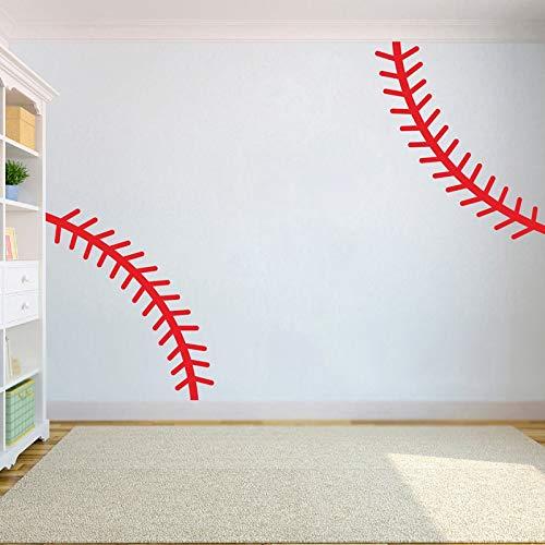 2pcs Baseball Stitch Wall Decal Nursery Dekoration, DIY Sports Pattern Vinyl Sticker Kids Room Home Wall Decor