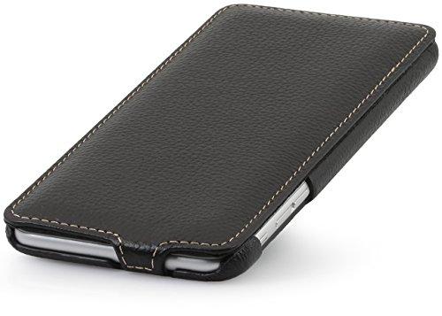 StilGut UltraSlim Case Hülle Leder-Tasche für iPhone 6 Plus. Dünnes 360 Grad Flip-Case vertikal klappbar aus Echtleder für das Original iPhone 6 Plus (5,5 Zoll), schwarz Schwarz