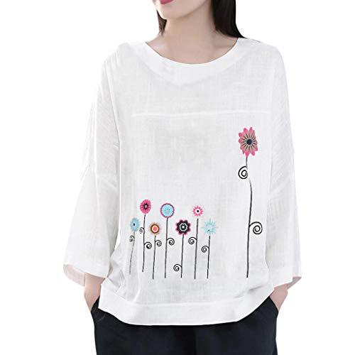 LILIGOD Frauen Plus Size Langarm Bluse Baumwolle Leinen Tuniken O-Neck Print Top Casual Lose Größe Oberteile O-Ausschnitt Lange Hülsen T-Shirt Einfarbig Sweatshirt Sweatshirts -