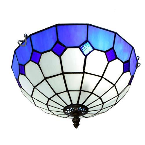 Handwerker-stil-schlafzimmer-möbel (Litaotao 12-Zoll Tiffany Style Creative Deckenleuchte Blaue Und Weiße Minimalistische Mediterrane Deckenleuchte Für Schlafzimmerflur Mit Balkon, 110-220 V, E27)