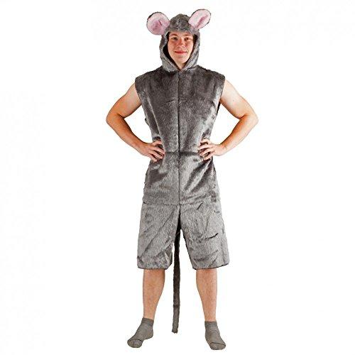 Krause & Sohn Kostüm graue Maus Plüsch Kurzoverall Fasching Tierkostüme Mauskostüm - Graue Maus Kostüm Für Erwachsene