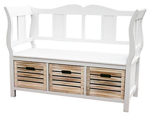 KMH®, weiße Sitzbank Bretagne mit 3 Holzkörben im Landhausstil (#204620)