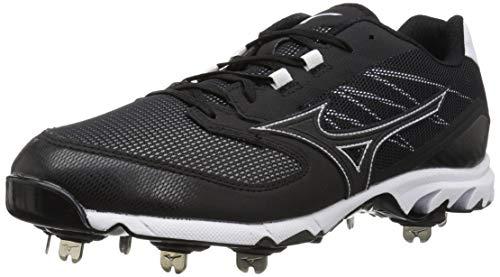 Mizuno Men's 9-Spike Dominant IC Low Metal Baseball Cleat Shoe, Black/White, 15 D US