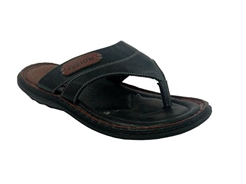 Fuzion Men's Black Slipper - 10 UK  available at amazon for Rs.498