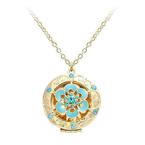 NOUMANDA Aromatherapy Essential Oil Diffuser Necklace Blue Flower Locket Pendant (Oro Diffusore)