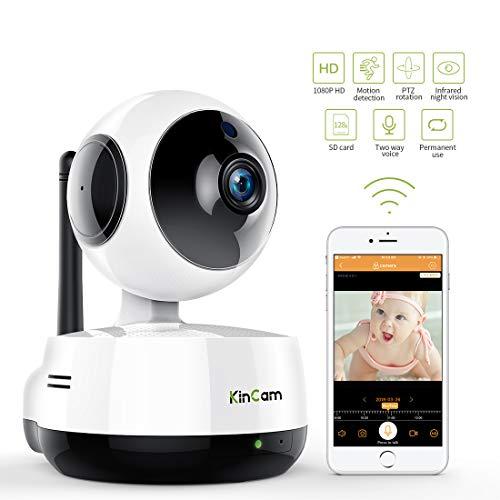 WiFi Kamera 1080P Indoor, KinCam Full HD Überwachungskamera WLAN Wireless Haustier Kamera mit Bewegungserkennung Nachtsicht 360 Grad Panorama unterstützt IOS und Android