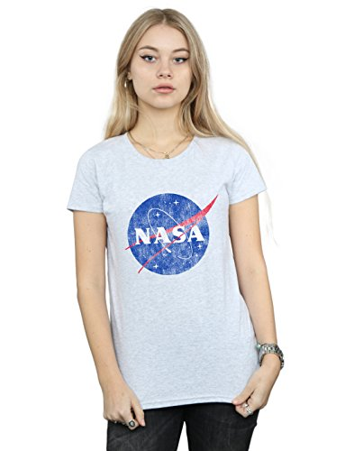 Absolute Cult NASA Mujer Classic Insignia Logo Distressed Camiseta Deporte Gris Large
