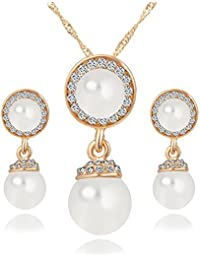 Hot And Bold Pearls & Cz American Diamond, Gold Plated Earrings & Necklace Combo/Set. Daily/Party Wear Fashion...