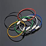 Naisidier 20pcs Stainless Steel Wire Keychain Key Cable Key Ring Assorted 5 Colors Black Silver Blue Green Red