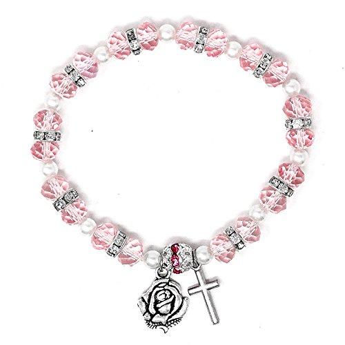 Catholic Gift Shop Ltd Pink Kristall Lourdes Apparition Jahrzehnt Rosenkranz Armband mit Kreuz und Lourdes Medaille, Lourdes Gebet Karte - Messe-medaille