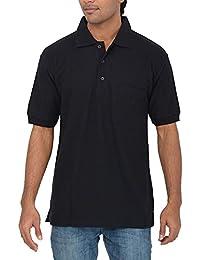 Comfort Plus Men's Casual Collar T Shirt With Pocket ( Black )