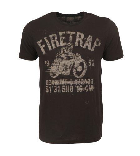 Firetrap–Skullracer–T-Shirt–Herren Schwarz