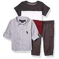 يو.اس. بولو اسن . قميص منسوج بأكمام طويلة للأولاد الصغار، تي شيرت متعدد الألوان، وبنطلون للركض Grey White Maroon Multi Plaid 18 شهر
