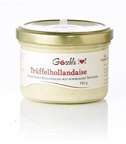 Trüffel Hollandaise von Göschle - Feinkost mit 10% schwarzer Trüffel für Gemüse, Lachs, Pommes und Filetsteak. 180 g