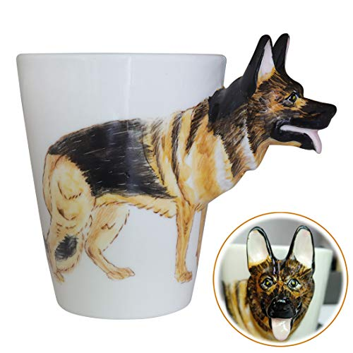 WEY&FLY 3D Hund große Kaffeetasse Keramik Tier Tasse Mugs Kaffeebecher als Geschenk mit Hunde Design für Tierfreunde,Hundeliebhaber,Handmade 325 ml (Deutscher Schäferhund)