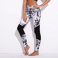 Preisvergleich für Xuanytp Yogahosen Hose Damen Leggings Schwarz Weiß Blumendruck Slim Fit Personal Fitness Größe S-Xl