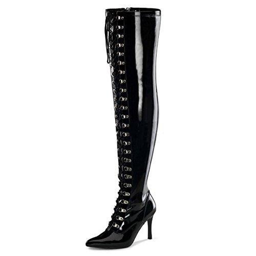 Higher-Heels Funtasma Weitschaft-Stiefel Dominatrix-3024X Lack schwarz Gr. -