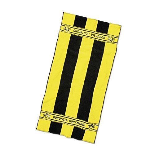 Borussia Dortmund BVB Duschtuch mit Blockstreifen, Baumwolle, Schwarz/Gelb, 140 x 70 x 1 cm
