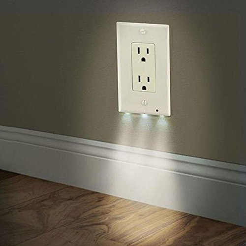 Socket Night Light Favolook Pop Double White Wall Outlet Cover