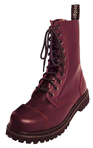 10 Trou Rangers Bottes bottes avec embout en acier Couleur Noire ou Bordeaux Chaussure à lacets Rosso (Bordeaux)