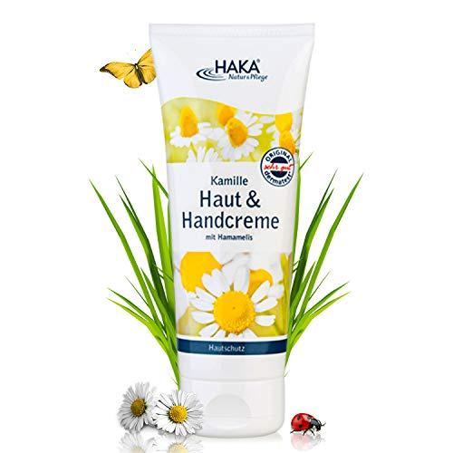 HAKA Handcreme Kamille I 200ml I Hautcreme Kamill für strapazierte Haut & Hände I Feuchtigkeitspflege für trockene Hände I Pflegecreme