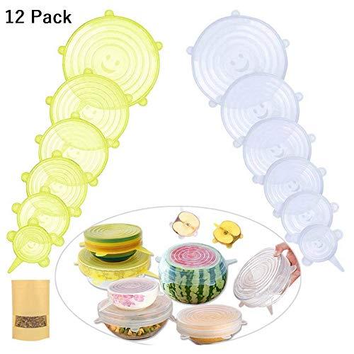 EANEU Dehnbare Silikondeckel,12 Stück Silikon Stretch Deckel Stretch Lid Frischhalte für Schüsseln, Dose, Glas, Glaswaren (Gelb+Transparent)