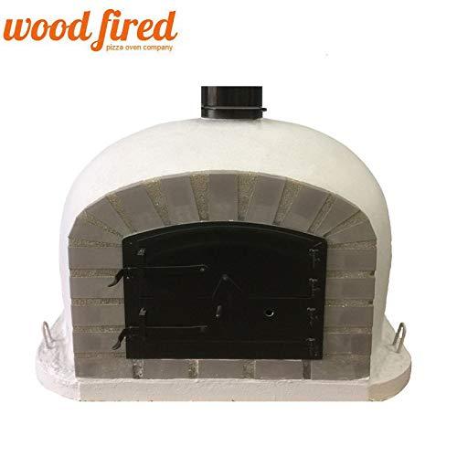 Light Grey Deluxe Wood Fired Pizza Oven, Grey Arch, Black Door, 100cm x 100cm