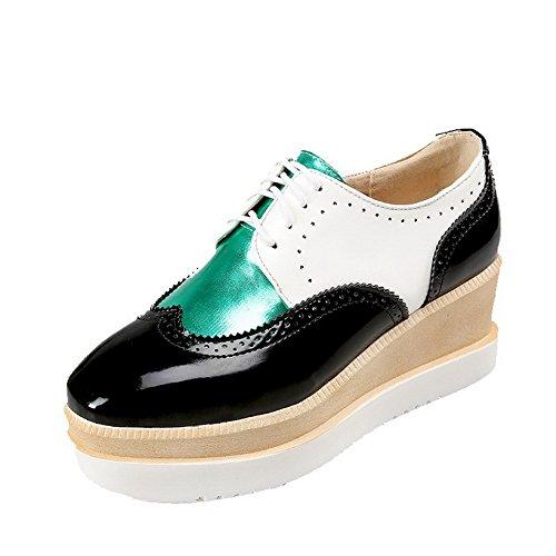 VogueZone009 Damen Quadratisch Schließen Zehe Schnüren Gemischte Farbe Pumps Schuhe Schwarz