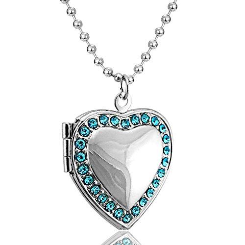 Blau CZ Geburtsstein Foto Medaillon Halskette Medaillon Herz Love Anhänger Charm Living Memory Medaillon vergoldet (Living Memory Medaillon)