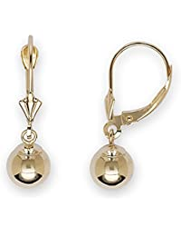 14ct Yellow Gold Large Ball Drop Leverback Earrings - Measures 27x8mm