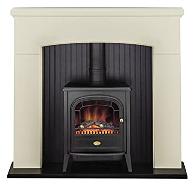 Adam Derwent Stove Suite in Cream with Club Electric Stove in Black, 48 Inch