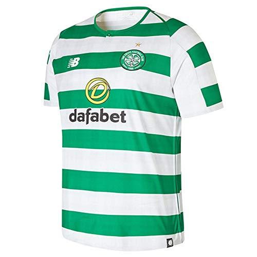 New Balance Herren Celtic FC Home Short Sleeve Jersey, Weiß/Keltisches Grün, L