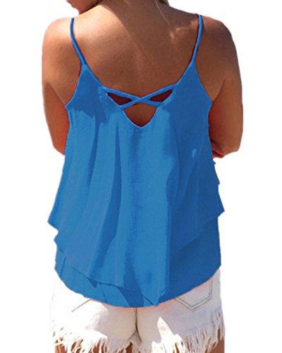 ZANZEA Damen Ärmellos Chiffon V-Ausschnitt Party Sommer Strand Club Shirt Tank Tops Blau