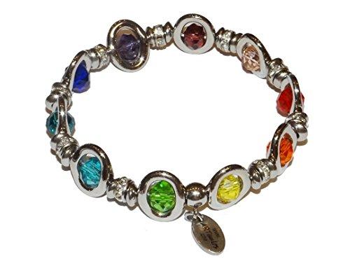 """ARTemlos® Handmade Damen-Armband """"Silverstar"""" (RB) aus Edelstahl und Glasperlen in Regenbogen-Farben"""