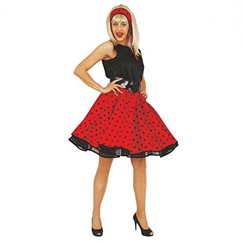 Und Roll And 50's Rock 60's Kostüme (Rockabilly Kostüm Pia Gr. S Damen Rock Bluse Stirnband 50er 60er)