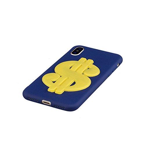 iPhone X Custodia, Gel Soft TPU Skin Shell [Sottile] durevole protettivo Cover iPhone 10 / iPhone X Copertura [TPU Cartoon Case] Graffi Resistenti - Nero cane blu reale 1