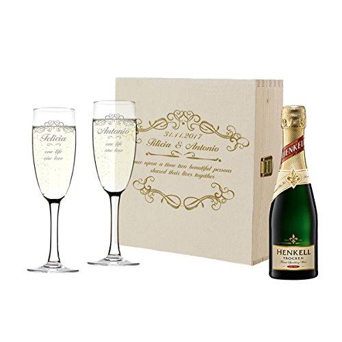 polar-effekt Personalisiert 2 Sektgläser mit Sekt-Flasche im Geschenkbox - Geschenkidee für Paare zur Hochzeit - Sektglas-Set mit Gravur - Motiv Ornamente (Hochzeit Ornamente Personalisierte)