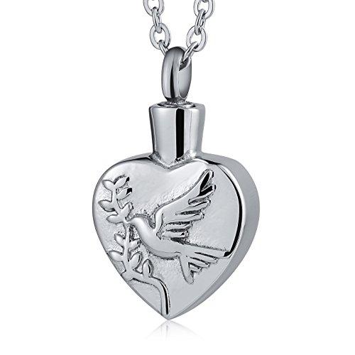 Beydodo Edelstahl Asche Kette mit Anhänger Tauben mit Ölzweig Urnen Anhänger Halskette Silber Freundschaftskette