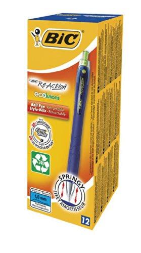 BIC Druckkugelschreiber Ecolutions ReAction (0.32 mm, mit gefederter Spitze, Schachtel à 12 Stück) blau