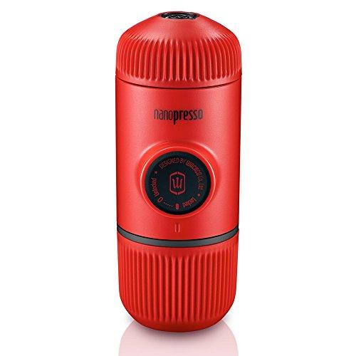 Wacaco Nanopresso Portátil Espresso Maker, Versión mejorada de Minipresso, 18 Presión de barra, Edición Red Patrol, cafetera de viaje extra pequeña, operada manualmente