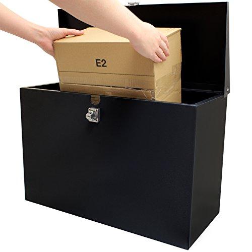Hardcastle - Abschließbare Paketbox aus Metall - Groß - Schwarz