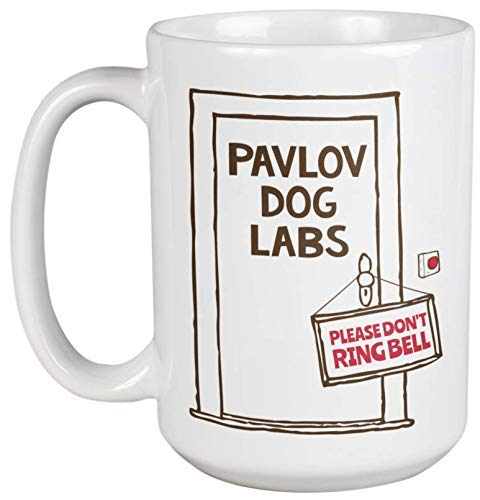 Pavlov Dog Labs. Please Don't Ring Bell. Funny Psychology Coffee & Tea Gift Mug For Students, Psychologists, Psychiatrists, Medical Practitioners, Doctors, Guidance Counselors, Women And Men (15oz)