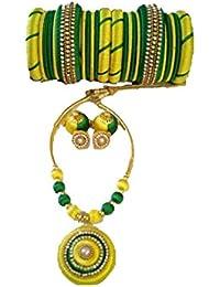Anu Art Green Silk Thread Jewellery Set For Women