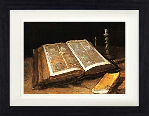 1art1 Vincent Van Gogh - Stilleben Mit Bibel, 1885 Gerahmtes Bild Mit Edlem Passepartout | Wand-Bilder | Kunstdruck Poster Im Bilderrahmen 40 x 30 cm