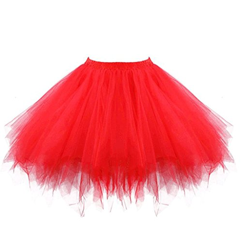 intage Petticoat Party Dance Tutu Rock Ballkleid Rot S/M (Tutu Frauen)